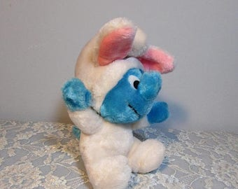 SALE Plush Smurf Bunny Toy by Wallace Berrie 1983
