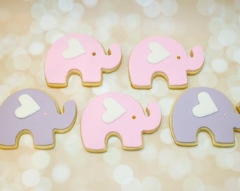 Baby shower elephant cookies | Etsy