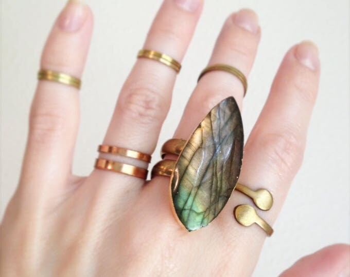 Labradorite Double Banded Brass Ring, Size 7.25