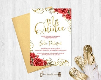 Quinceanera Invitation Red Rose and Gold Mis Quince Anos Invitation Printable Digital File or Printed Invitations Fifteenth Birthday
