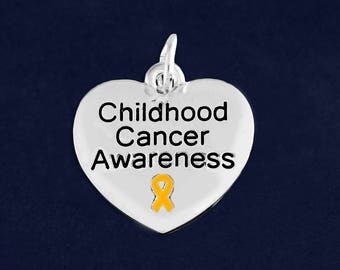 10 Heart Childhood Cancer Awareness Charms (10 Charms) (C-129-11CC)