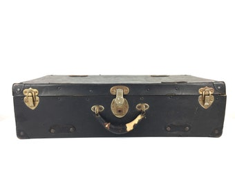 Vintage 1940s Suitcase Vintage Small Black Lightwieght 1940s Black Suitcase Old Small Suitcase Briefcase