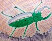 free shipping Small beetle original piece