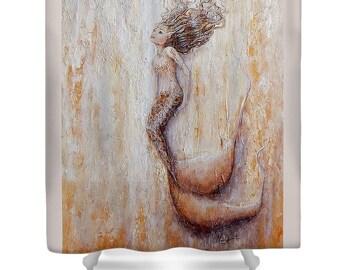 mermaid shower curtain, neutral  bathroom mermaid curtain, mermaid bathroom accessories, Original art by Nancy Quiaoit.