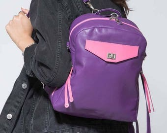 ON SALE! Small Purple Leather Backpack, Purple Leather Shoulder Bag, Purple Leather Crossbody, 3-Way Small Backpack, Hot Pink Leather