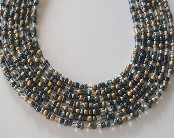 Slate seed bead necklace in your choice of lengths - seed bead necklace - grey seed bead necklace - grey necklace - neutral necklace
