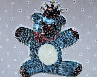little bear sequined applique patch Paillette vintage patch T-shirt or Coat decoration patch applique