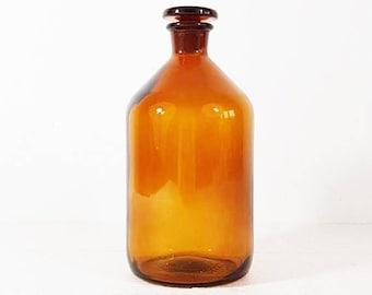 French amber glass apothecary jar antique, Pharmacy bottle collection, PROLABO, Apothecary Bottles Antique, Medicine Cabinet Decor, E844
