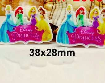 4 pcs.  DISNEY PRINCESSES Planar flatback resins Hair bow centers. Absolutely Gorgeous! Cinderella, Ariel, Belle, Rapunzel