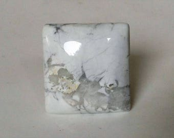 Large Howlite Cabochon. White Howlite Square Shape Semi-precious Cabochon White Natural Cabochon NGC111A