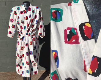 Vintage Sea Island One Size Fits All Cotton White Abstract Print Primary Colors Bright Robe Lounge Wear Eighties 1980s