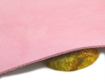 Leather pink nubuck, piece of 25x12cm about cutting