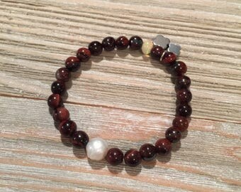 "Stretch stack bracelet red tigers eye~edison pearl~Ethiopian Opal~hematite quatrefoil charms 7"" or smaller"