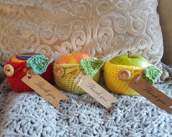Crochet apple cozy and greetings card teacher gift