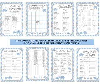 Blue Elephant Baby Shower Game, Blue Stripe Baby Game, Blue Gray Baby Shower Game, Blue Gray Baby Game, DIY Baby Games - Printables 4 Less