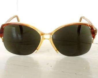 Pre-Owned Retro Sunglasses/Genuine 1980s Vintage/Plastic Tortoise Shell/Cat-Eyes/Half Frames/SL logo/lindafrenchgallery