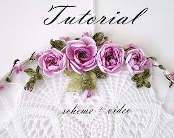 Tutorial Crochet flowers.Pattern & video Crochet shebby chic Rose.Crochet jewelry.Crochet rose pattern