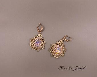 Tatting lace chandelier earrings. Earrings frivolite.Pink champagne cabochon  earrings.Long earrings.Victorian style Filigrees earrings.