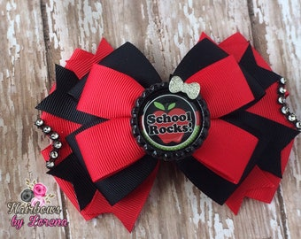 School Rocks Layered Hairbow, Back to School Bows