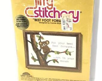 Jiffy Stitchery Best Foot Forward Embroidery Kit Koala Bear Sunset Designs