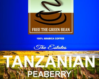 Tanzanian Peaberry Zanzibar Estate Coffee. Whole bean and fresh roasted from high-grown Tanzanian Estates, 12oz (350g)