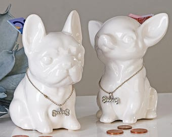 "Moneybox CHIHUAHUA ""Comics"" model white, height 4.7 inches"