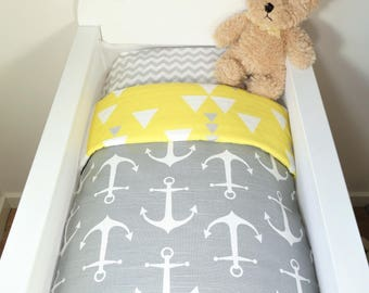 Bassinet individual items OR gift set: Grey with white anchors AND yellow, grey, white geometric triangles