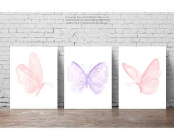 Baby Pink Purple Butterfly Painting, Set of 3 Butterflies Art Print Gift Idea, Girls Nursery Light Pink Room Decor Shabby Chic Watercolor