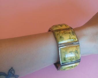Antique Silver Persian Story hand painted panel bracelet