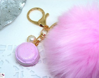 Pink fluffly and glittery pink macaroon Keyring