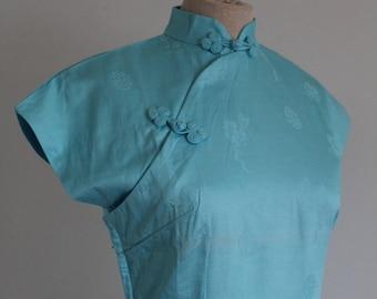 RESERVED Blue Asian 1960s Cotton Cheongsam Qipao Dress