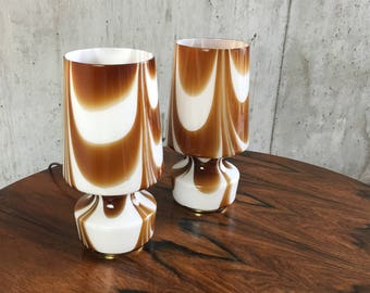 Pair 1960's Belgian table lamps with brass base glass shades with swirl stripe