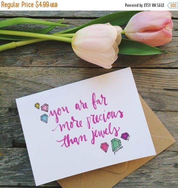 ON SALE Scripture card for mom, mothers day card, proverbs 31, you are more precious than jewels, encouragement card