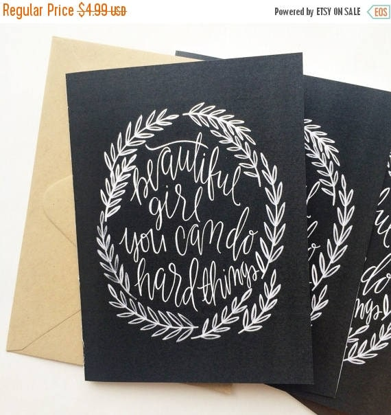 ON SALE Get well soon card, encouragement card, snail mail, beautiful girl you can do hard things, chalkboard look card