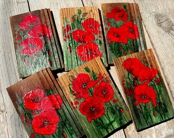 Red poppies blooming, 5th anniversary gift, wood pano old board poppy, home decor, living room, wonderful for engagement, wedding, Christmas
