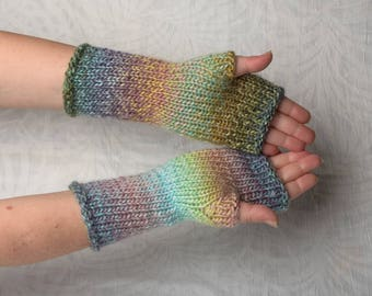 Fingerless Gloves Romantic gift for her stripped arm warmers womens knit mittens wool womens gift colorful knit