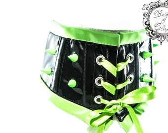 Neon Spiked Cyber Punk PVC Neck Corset