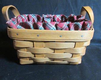 """Longaberger Tea basket with leather handles,  Plaid Tidings liner, rectangle 7"""" x 5"""" x 3.5"""", vintage 1993"""