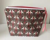 Project bag, wip bag, craft bag, knitting crochet bag, Christmas bag,