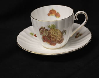 Royal Tuscan Pineapple Motif Made in England Fine Bone China Cup and Saucer