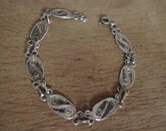 """Sterling Silver Filigree Link Bracelet 6.5"""" (2699)"""