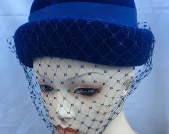 1950's Deluxe velour blue hat