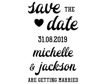 "SAVE the DATE STAMP - wedding stamp, custom stamp, favours tag stamp, wedding stationery, invite stamp, calligraphy stamp,  2""x3.2"" (cstd96)"