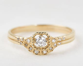 Diamond engagement ring set, 14k gold, rose gold, white gold, 18k, platinum option, diamond wedding band, mil-r202-3mm