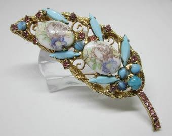 """Vintage Rhinestone Jewelry -  """"Juliana""""  Brooch Pin - Verified - Delizza & Elster - Flower Transfer"""