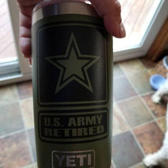 RETIRED DECAL, us army yeti decal, Army yeti Decal Sticker, Army Veteran, Veteran Army, army decal, army cup, car, tank, combat, soldier