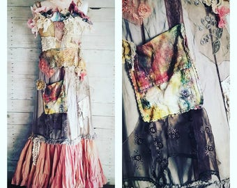 Pink Sunshine Shabby cowgirl rustic funk embellished earthy textile art layered lace prairie gypsy floral ruffle rustic Boho maxi dress M