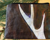 49 ANTLER II- large reclaimed canvas zipper pouch