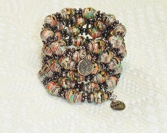 Paper Bead Bracelet, Handmade Memory Wire Jewelry Floral on Black