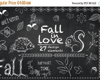 SUMMER SALE - 55% OFF Autumn Chalkboard Cliparts, Fall Clip Art, Hedgehog, Squirrel, Acorn, Leaves, Fall Borders, Harvest, Thanksgiving Grap
